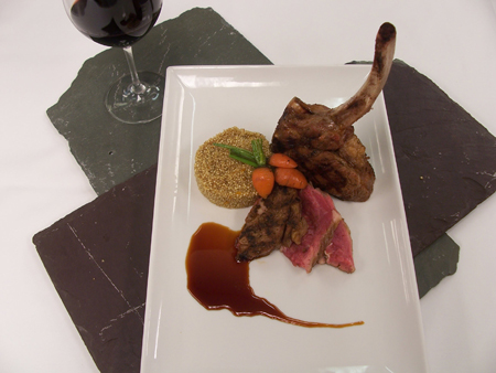 Veal Chop with Blood Orange Glaze, Quinoa, and Globe Carrots